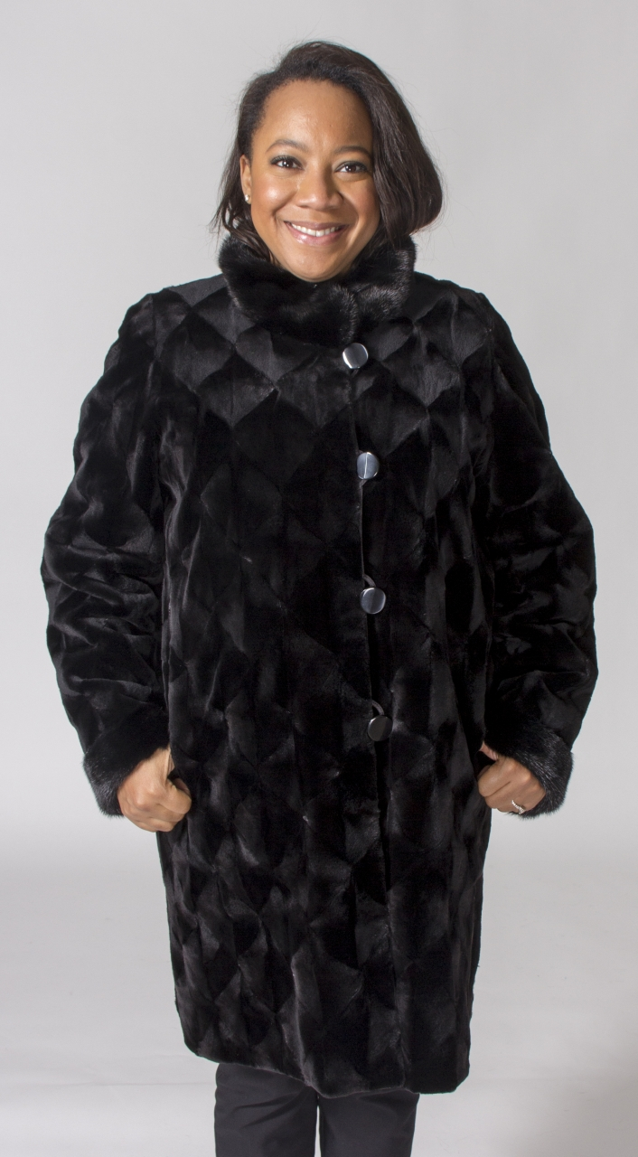 Black Dyed Sheared Mink 36 Sections Coat Diamond Cut