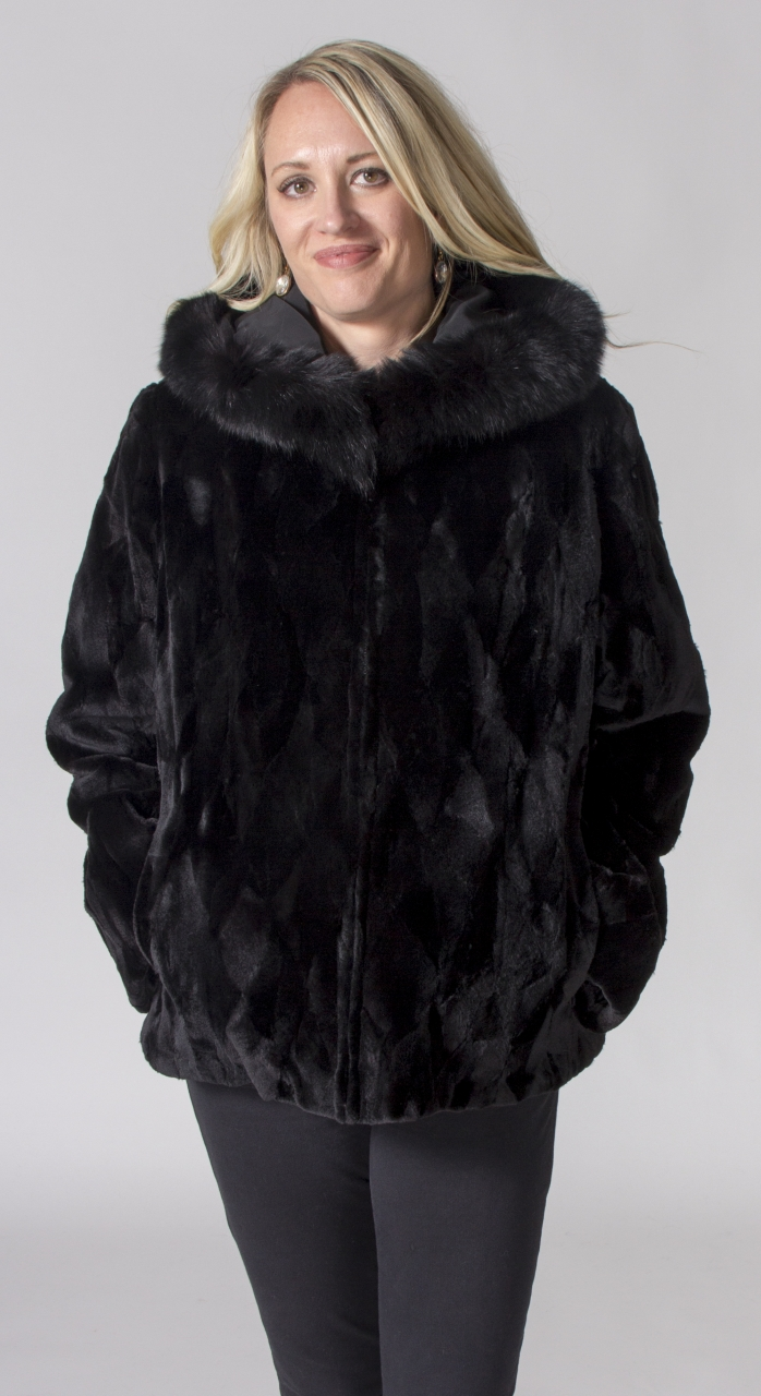 Black Dyed Sheared Mink Sections Diamond Cut Design 26