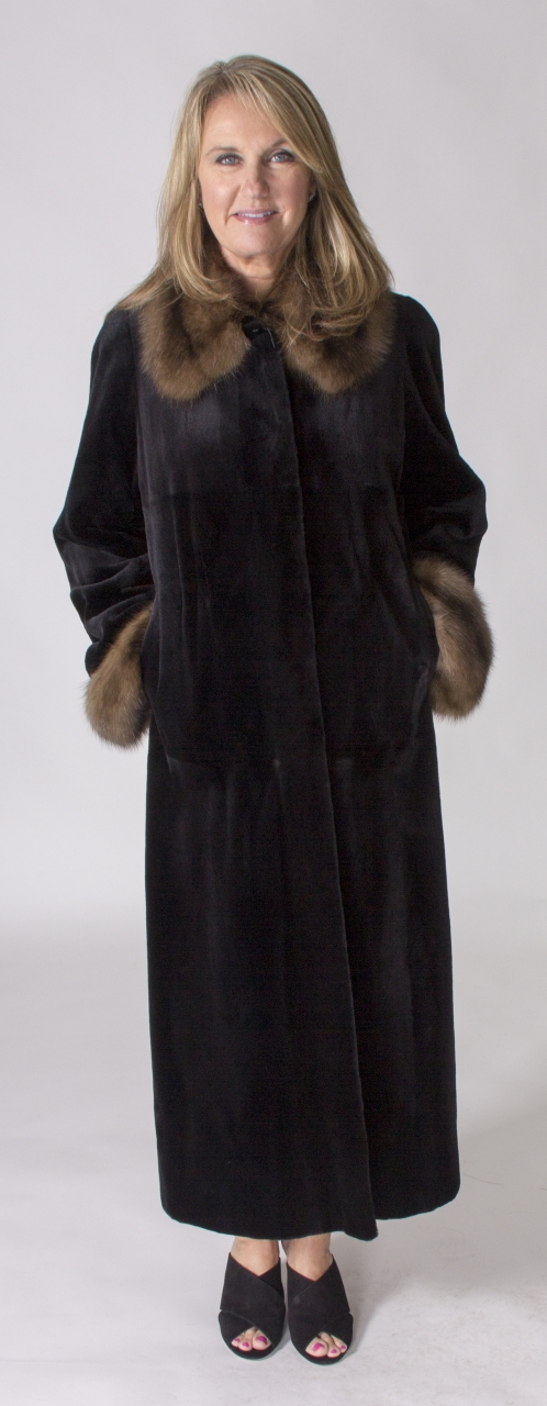 """Black dyed Sheared Mink 52"""" Coat with Natural Sable Collar & Turn ..."""