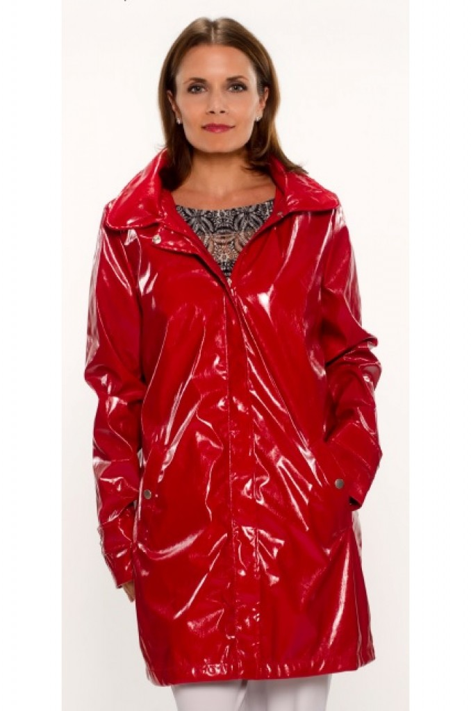 UBU Smock With Hood Red Patent Rain Jacket