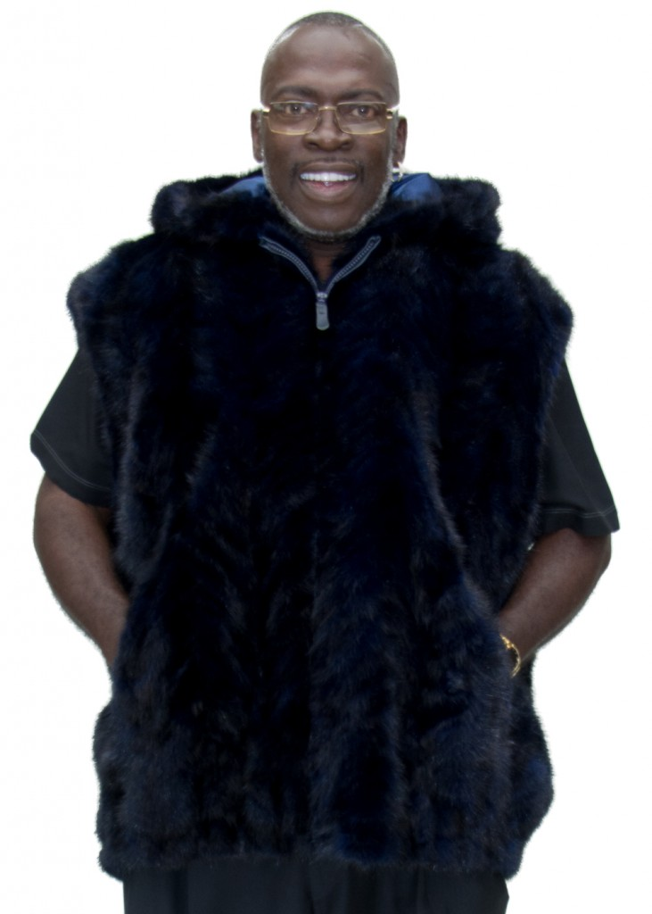 5bf4fd371fdb Navy Blue dyed Mink Fur Sections Zip 32″ Vest with Hood size 3XL