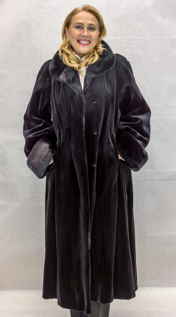 "f61b7c6b4c80a Black Letout Sheared Mink 49"" Coat with BLACKGLAMA® Ranch Mink Collar and  Turn Back Cuffs – size 10"