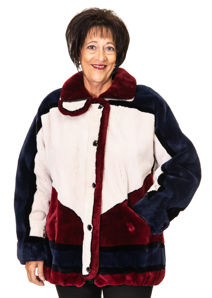 aeecc5c09c8 ... Oyster, Claret, Navy and Black Sheared Beaver Zip Jacket - size 12 ...