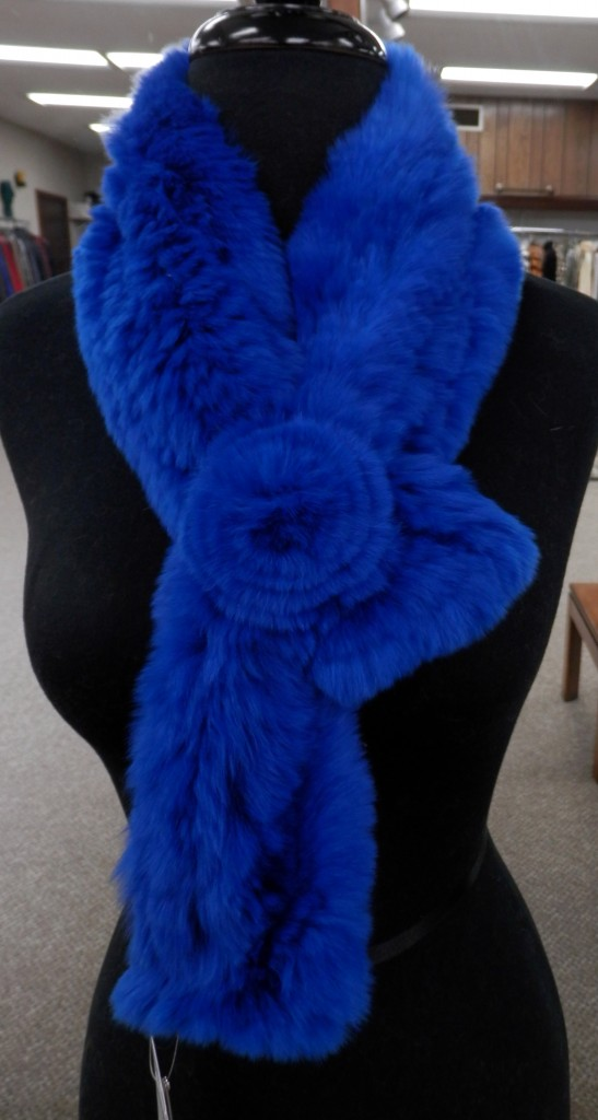 36525d9dca7e3 Blue 35″ Rex Rabbit Knitted Scarf with Rosette