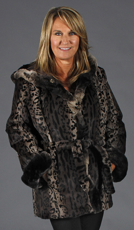 82f1ff02a Animal Print Rabbit Fur Parka; Reverses to Poly Filled with ...