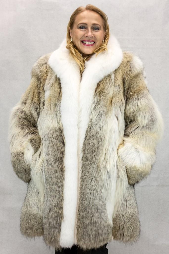 "eee89e92eb Natural Coyote Letout 36"" Coat with Natural Shadow White Fox Tuxedo Trim"