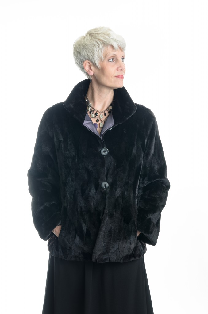 Black 25 Quot Sheared Diamond Cut Mink Jacket With Small Wing