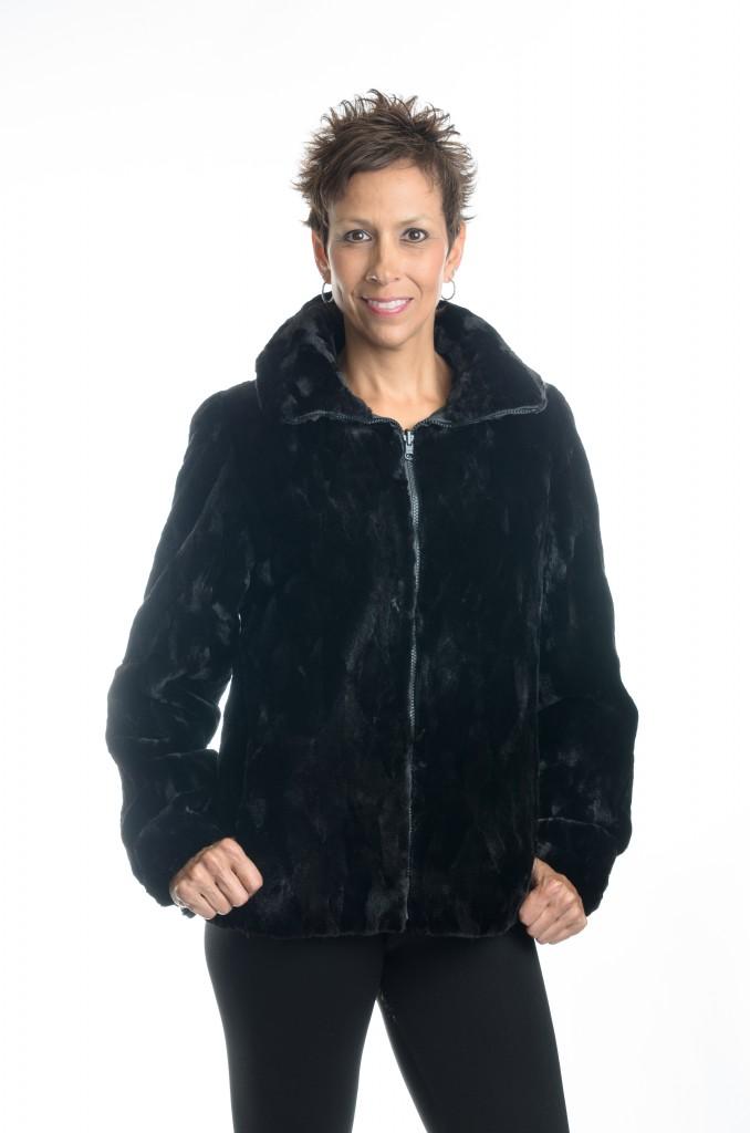 f2eca7732a2 Black 25″ Sheared Diamond Cut Mink Jacket with Cowl Collar  reverses to  Black Taffeta Rain Silk