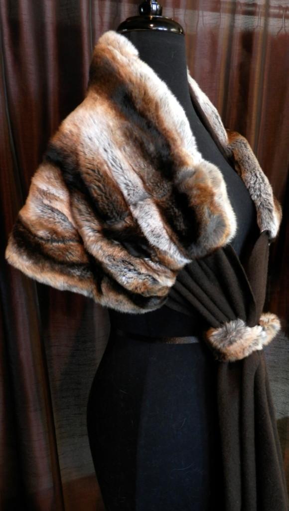 Multicolor Rainbow Horizontal Design Fox Cape   A J  Ugent Furs