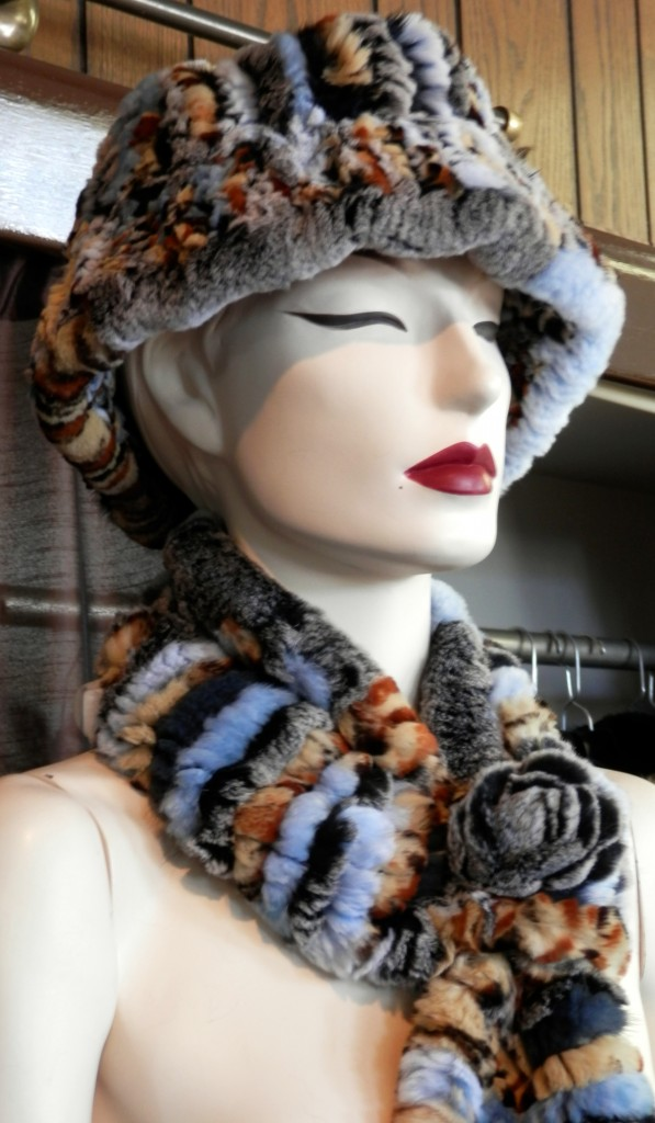 Rex Rabbit Multi Color Dyed Fur Hat And Rosette Scarf Set