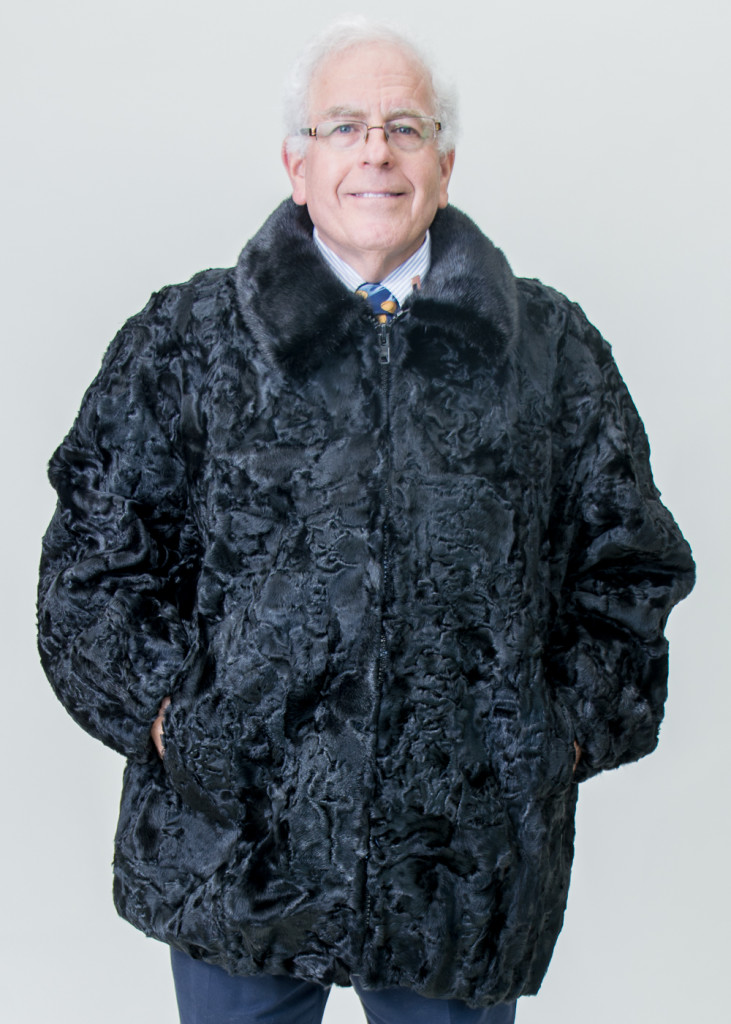 Black Dyed Persian Lamb Sections 32 Zip Jacket With Dark