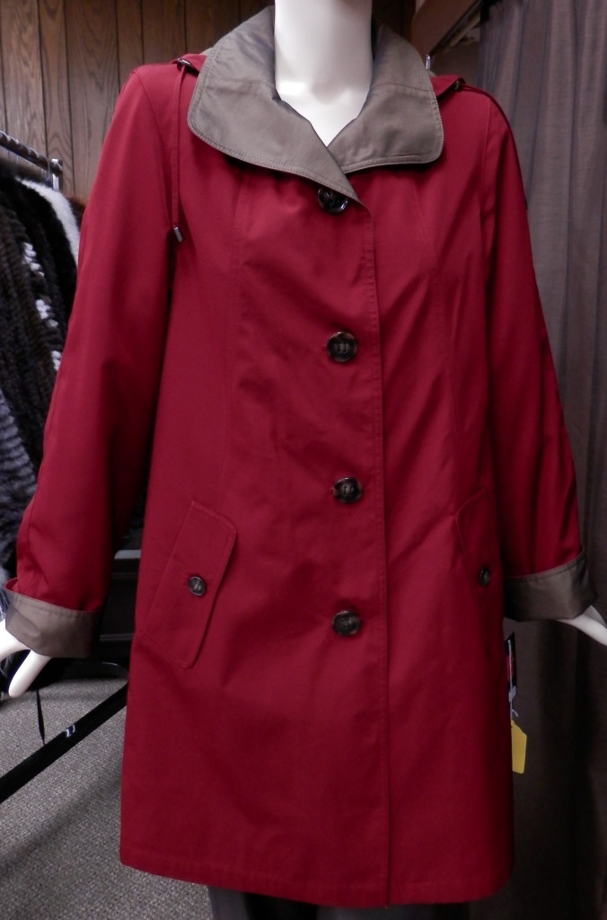 e0018a955ec Gallery Hooded 36″ Trench Rain Coat – Red and Bronze