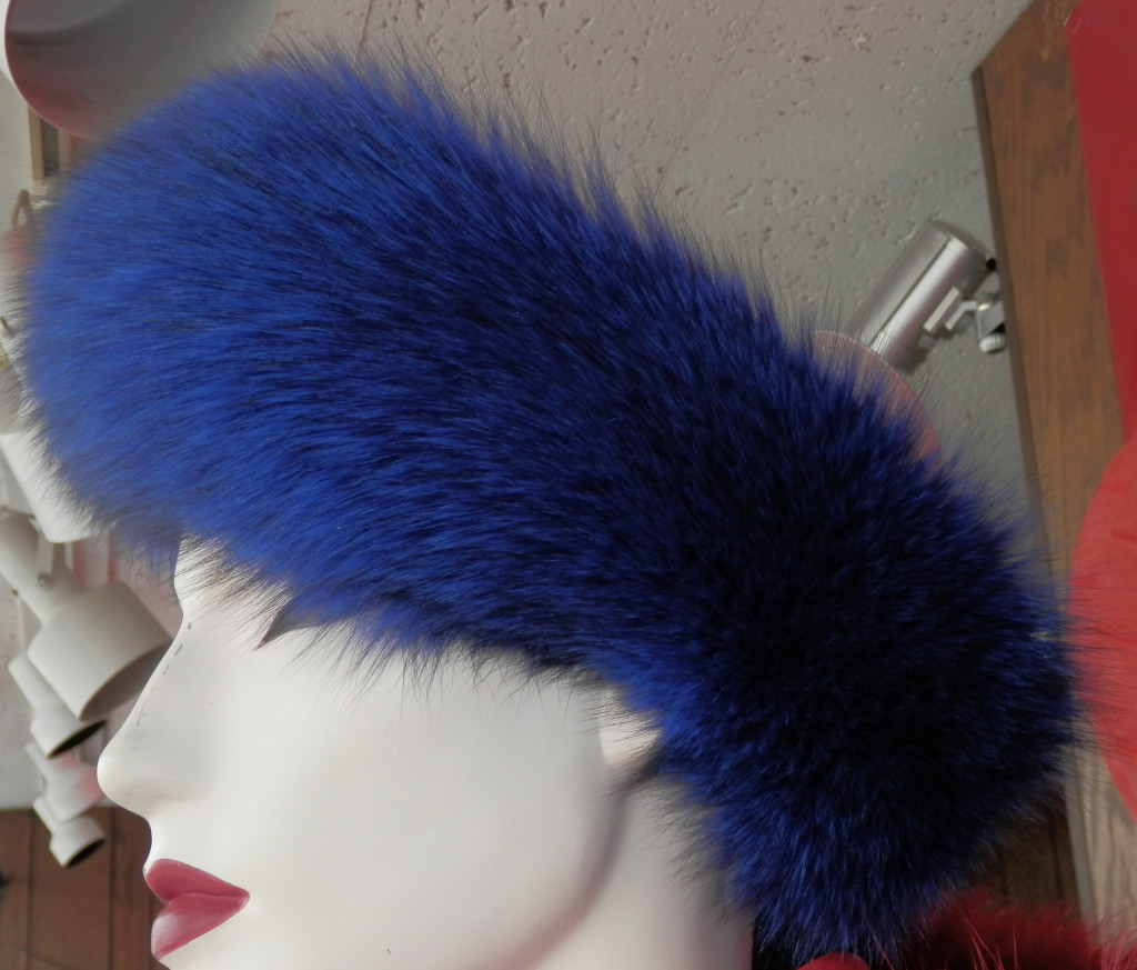 Fox Fur Headband with Adjustable Velcro Closure - Blue  48d976472e8