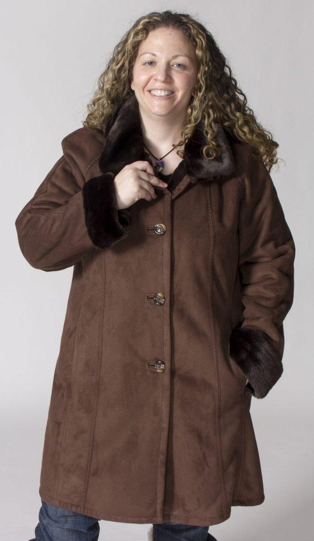 "41afac030fd Chocolate Faux Fur Acrylic Shearling 36"" coat with Detachable Hood ..."
