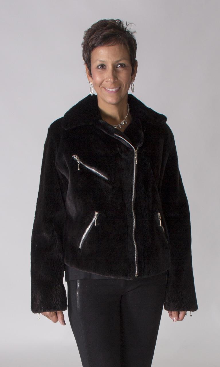 318dc1195 Black Sheared Beaver Fur Short Motorcycle/Biker Jacket - size 10 ...