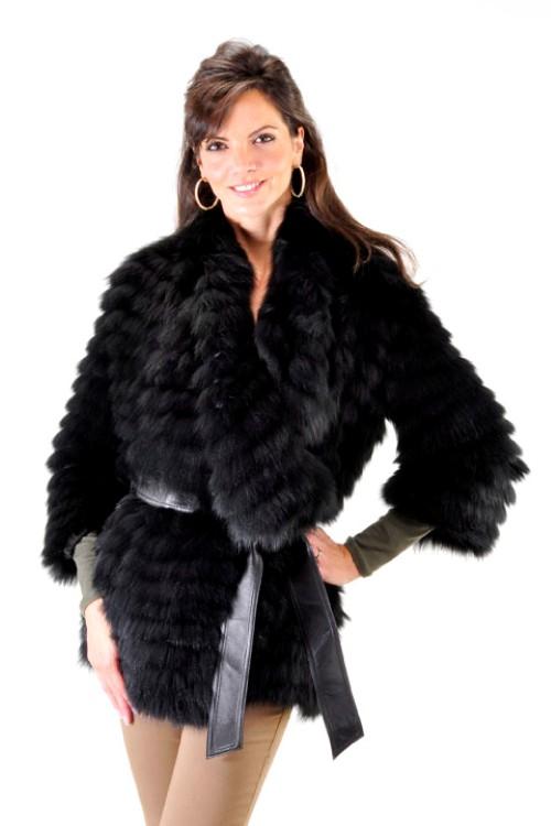 05123a9a636 30″ BYTE by TESO® Black Fox Organza Blend Fur Coat – size S (42)