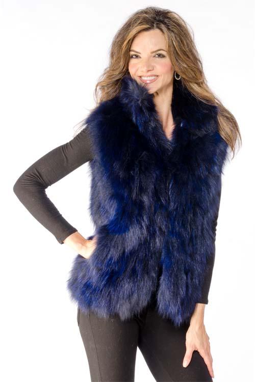 Blue 26 Short Adrienne Landau 174 Fox Vest Size 6 8 A J