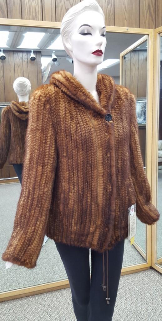 aa97ba2ab75 Whiskey Knitted Mink 26″ Parka; Reverse to Taffeta Silk – size 12