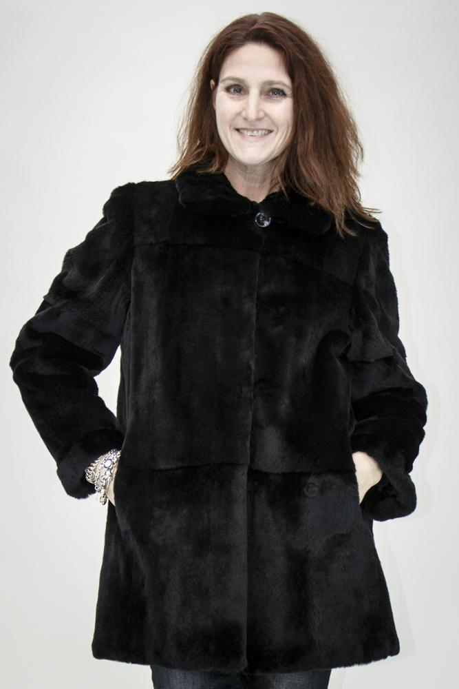 "c87a2b660 Black Sheared/Plucked Skin on Skin 32"" Mink Jacket; Reverse to Grey Flex  Pattern Taffeta Rain Silk - size 8"