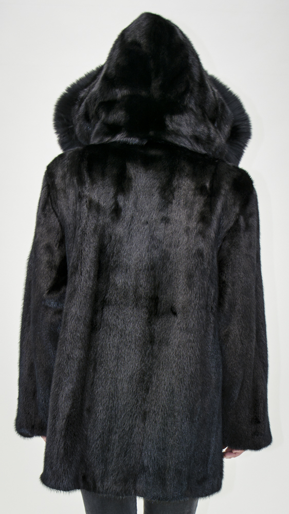 "a559fb0607c Dark Ranch Letout Female Mink 30"" Zip Jacket with Detachable Mink Hood   Reverse to Black Cabretta Lamb Leather – size 12"