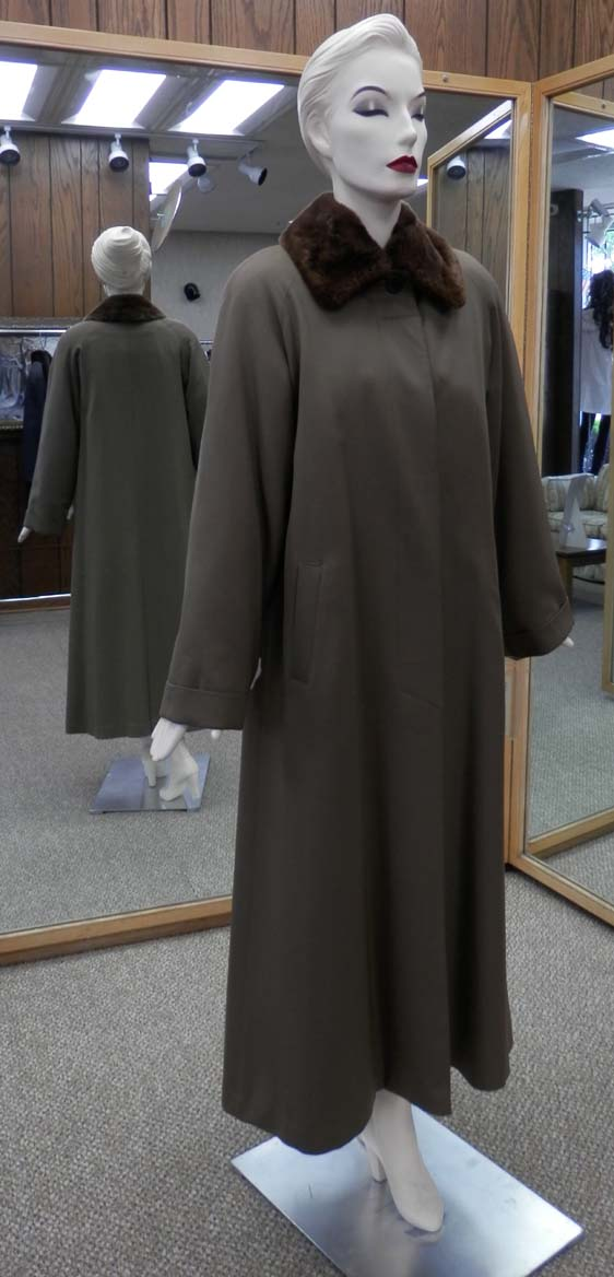 1fb3b8f7773 Gabardine Poplin 52″ Raincoat with Detachable Rabbit Liner and Detachable  Sheared Nutria Collar – size 12