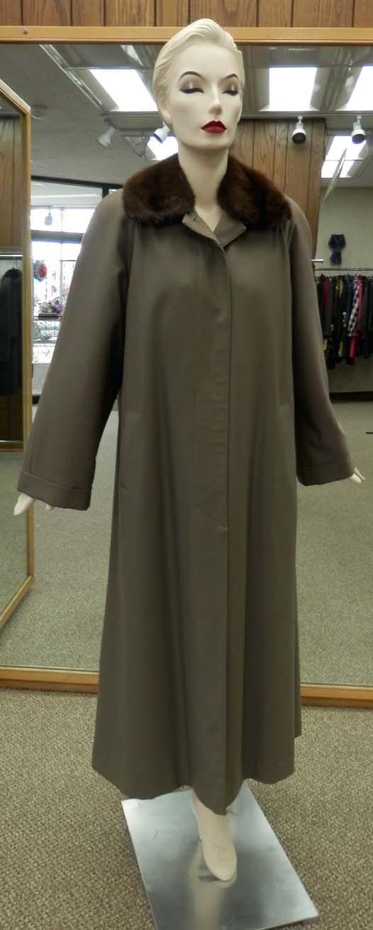 7f3da6523cf Gabardine Poplin 52″ Raincoat with Rabbit Liner and Detachable Natural Mink  Collar – size 14