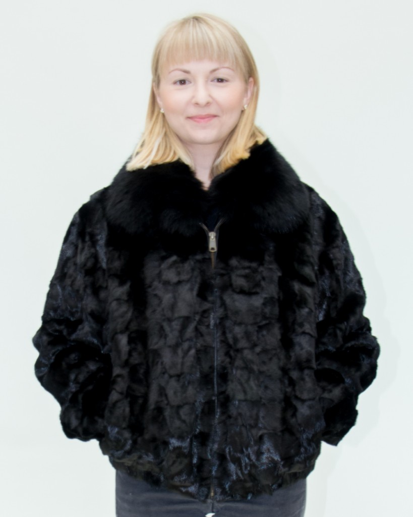Black Ranch Mink Sections Zip 26 Jacket Diamond Cut With