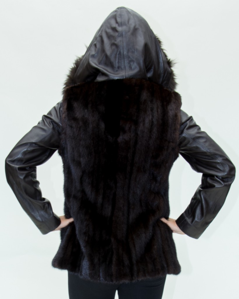 """22b6a3cbed8 Natural Lunaraine Letout Female 28"""" Mink Zip Jacket with Brown Cabretta  Lamb Leather Hood and Fox Trim; Zip Off Leather Sleeves to Convert To Vest"""
