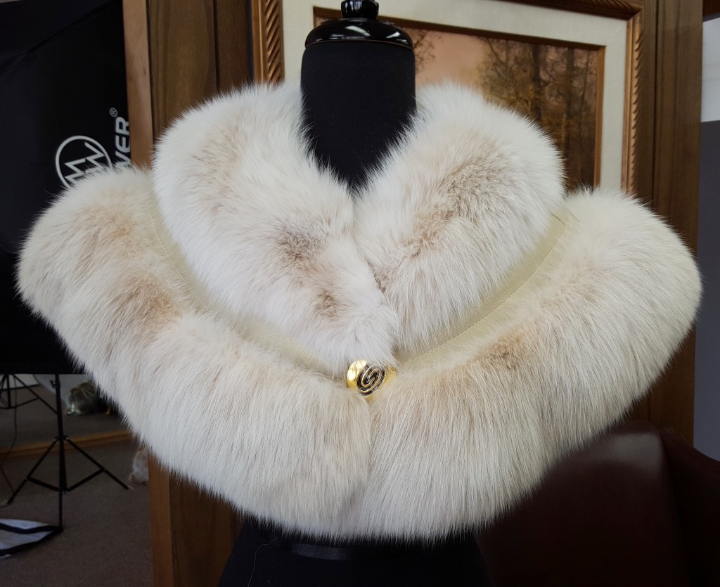 Blush Dyed Fox Fur Shoulder Cape With Champagne Gold