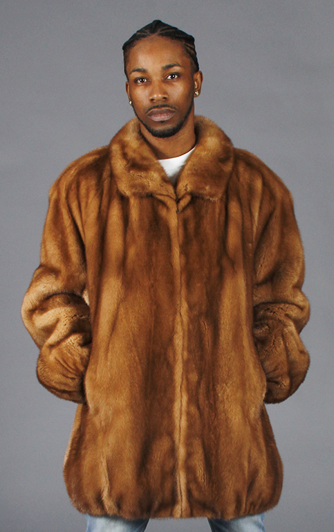 """19566942cab25 Whiskey Gold Letout Male 35"""" Mink Zip Jacket with Ragland Sleeves – size 48  Tall"""