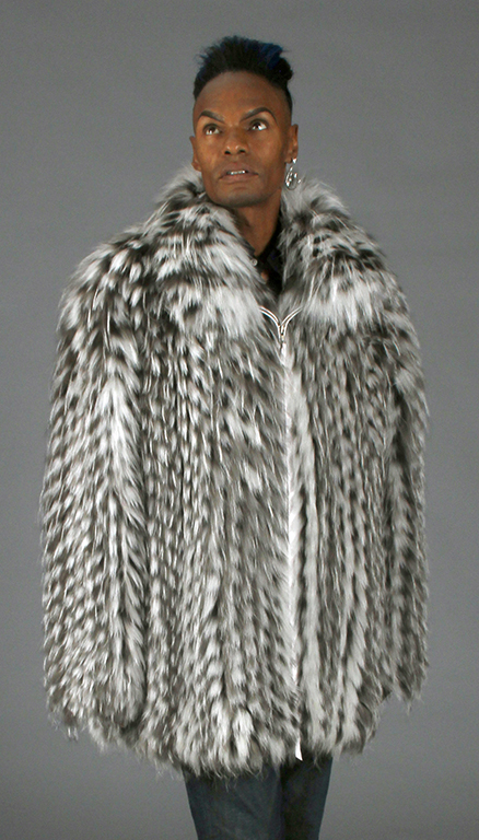 "1e6d00a651c Natural Platinum Grey   White Fox ""Popcorn"" Design Feathered 36"" Zip Jacket  – size 46"
