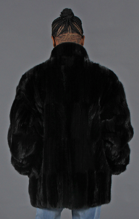 "34eee3ea1b4 Natural Ranch Vertical Design Mink Tails 31"" Zip Jacket with Stand Up Style  Collar – size 50"