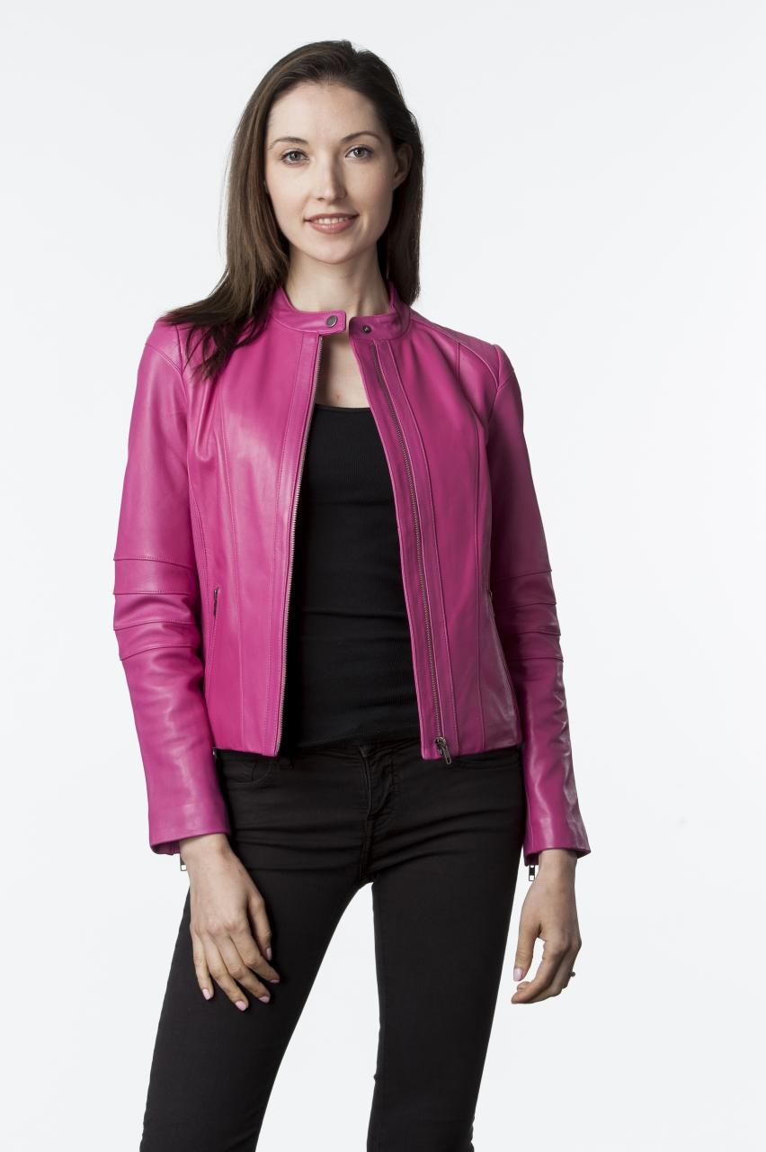 Lambskin Leather Women Black Jacket W206