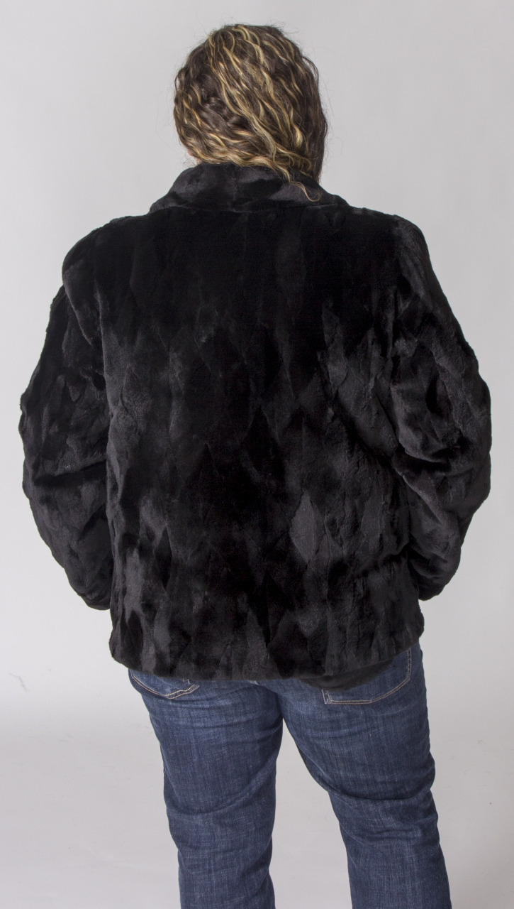 Black Dyed Sheared Mink Sections Quot Diamond Cut Design 26