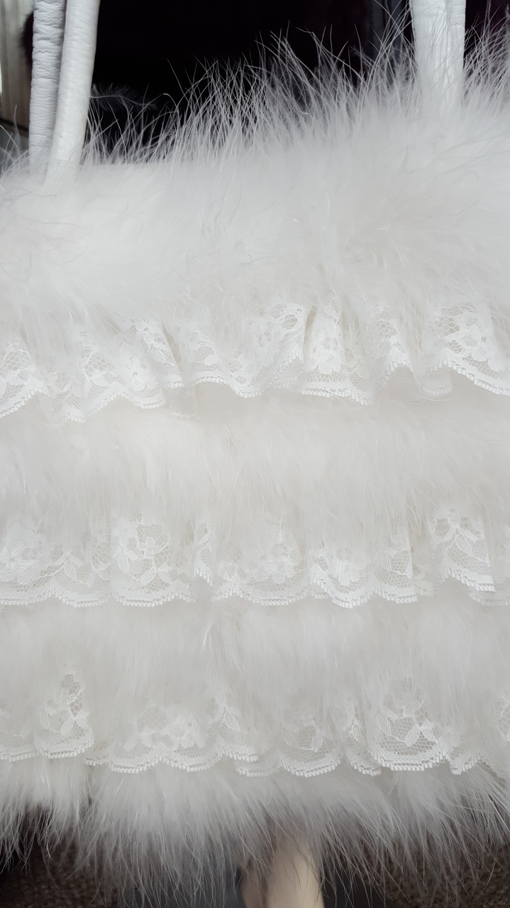 1b1f5fe4318c White Marabou Feather Purse with Ruffled Lace Inserts