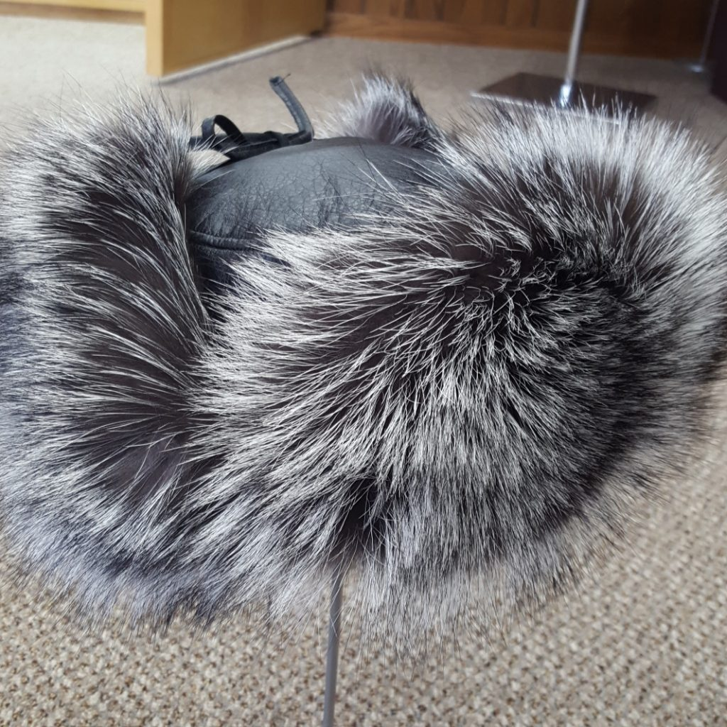 01788c1f4e9 Black Lamb Leather and Silver Fox Fur Trooper Hat