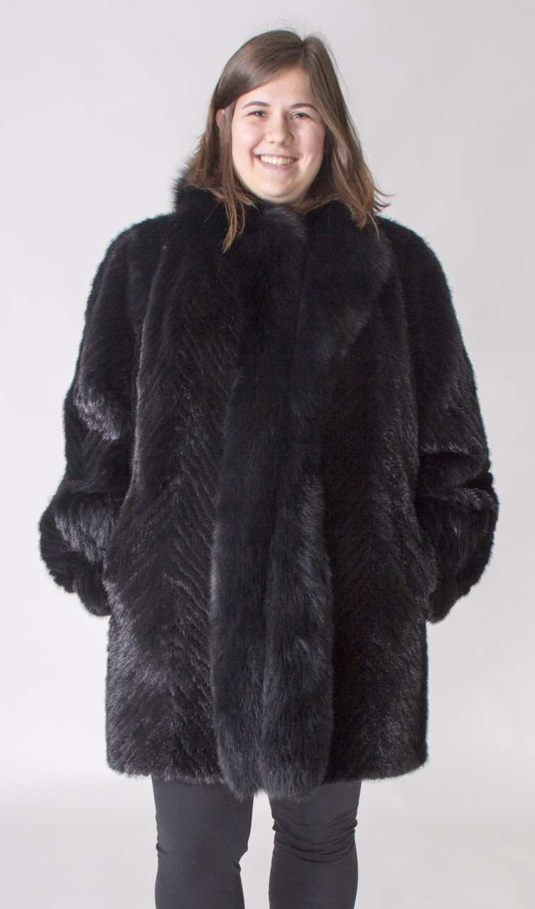 "8a5508ff1180c Black dyed Mink Tails Chevron Design 34"" Coat with Black dyed Fox Tuxedo"