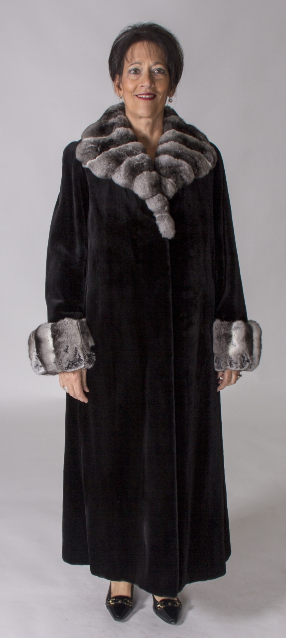 """f80f14626992 Black dyed Sheared Letout 52"""" Mink Coat with Natural Chinchilla Cross Cut  Collar   Turn Up Cuffs - size 12 ..."""