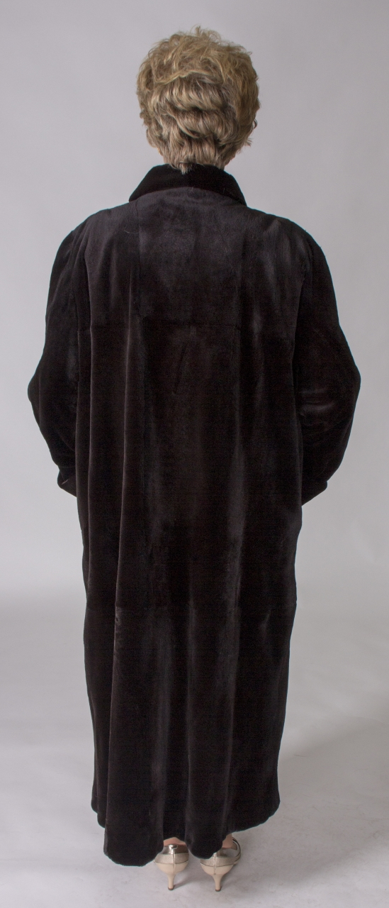 """c7464f2289d3e Dark Brown dyed Sheared Mink 53"""" Coat with Large Shawl Collar   Turn Back  Cuffs – size 18"""