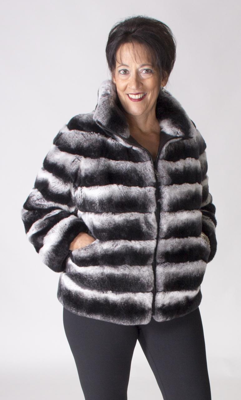 Stand Designs Zip : Black snow top dyed rex rabbit horizontal design zip
