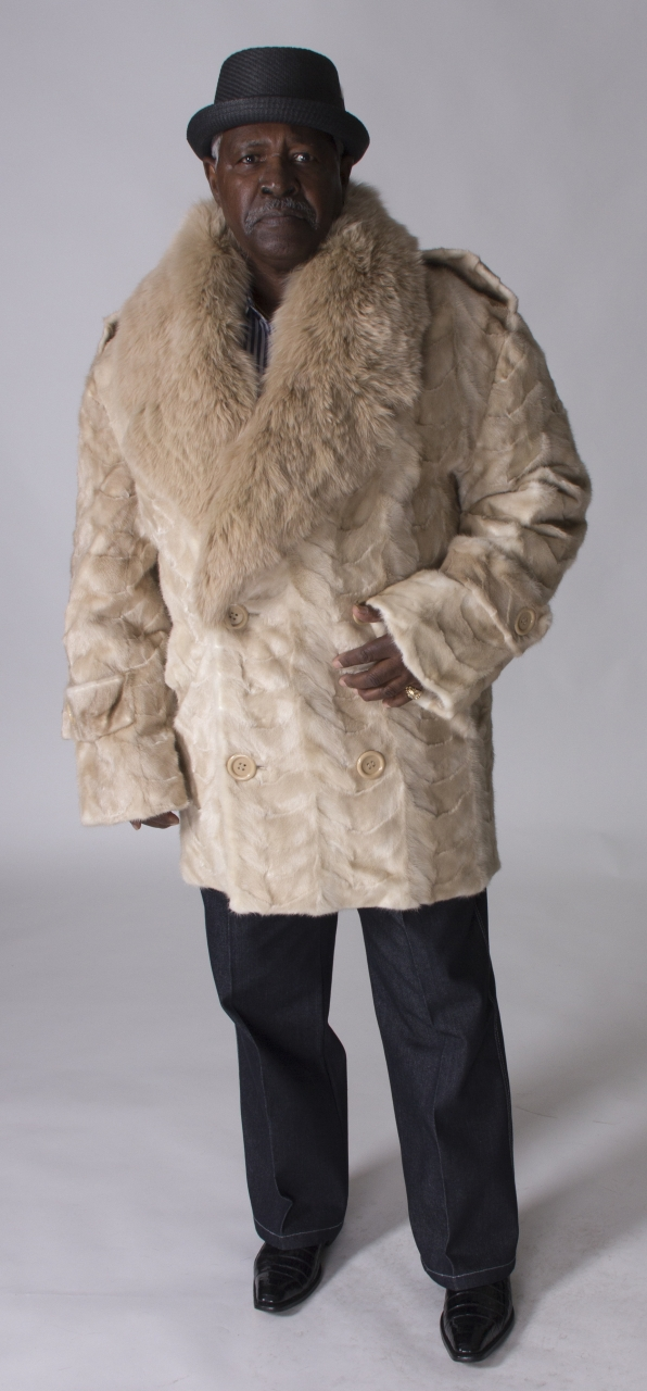 "7336858ec15 Natural Pastel (Beige) Mink Paws Man s 36"" Carcoat with Large Pastel Fox  Collar"