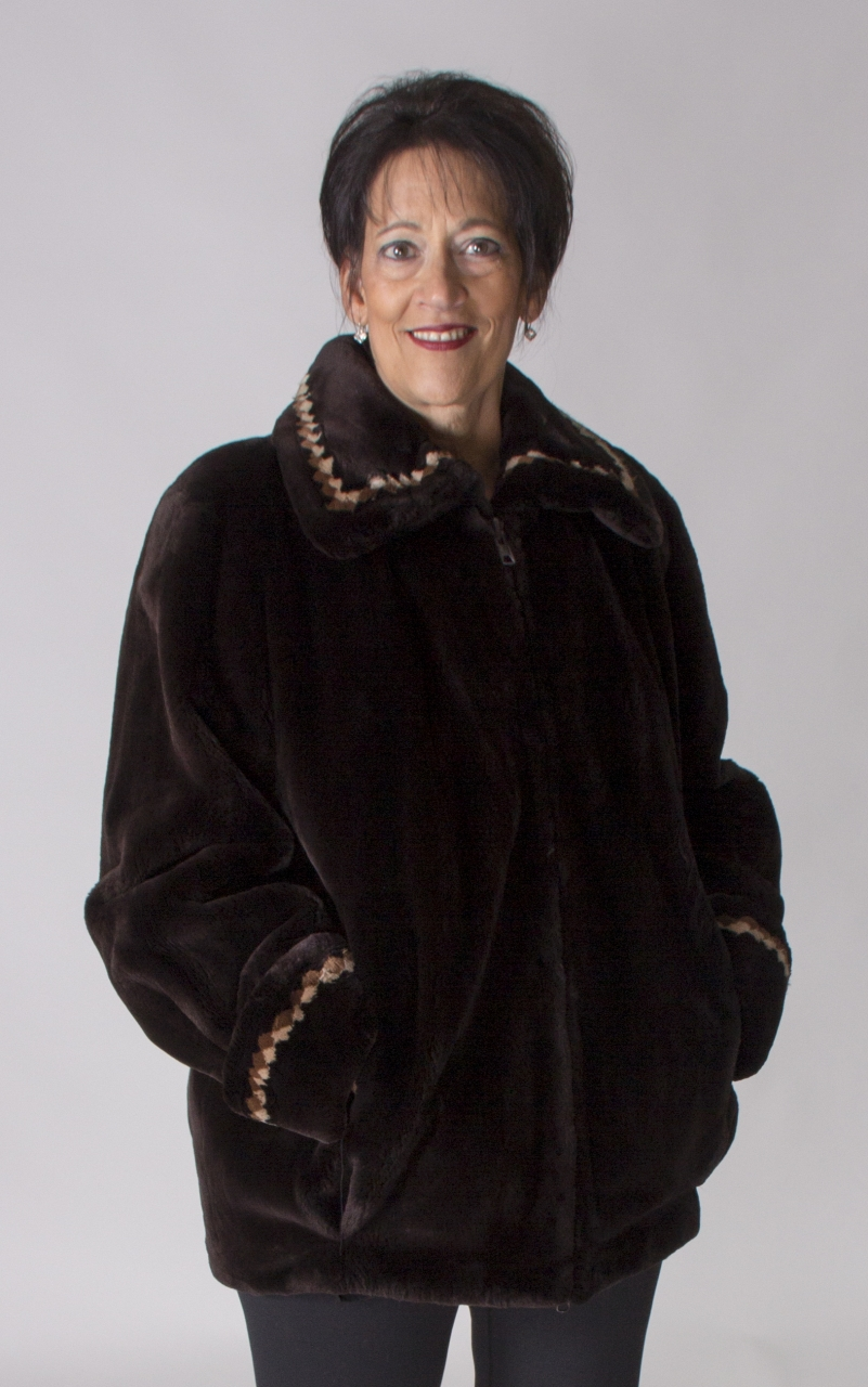"""e5f6272ab25 Walnut Brown dyed Letout Sheared Beaver 29"""" Zip Jacket with Multi Color  Diamond Insert Detail Trim - size 10 ..."""