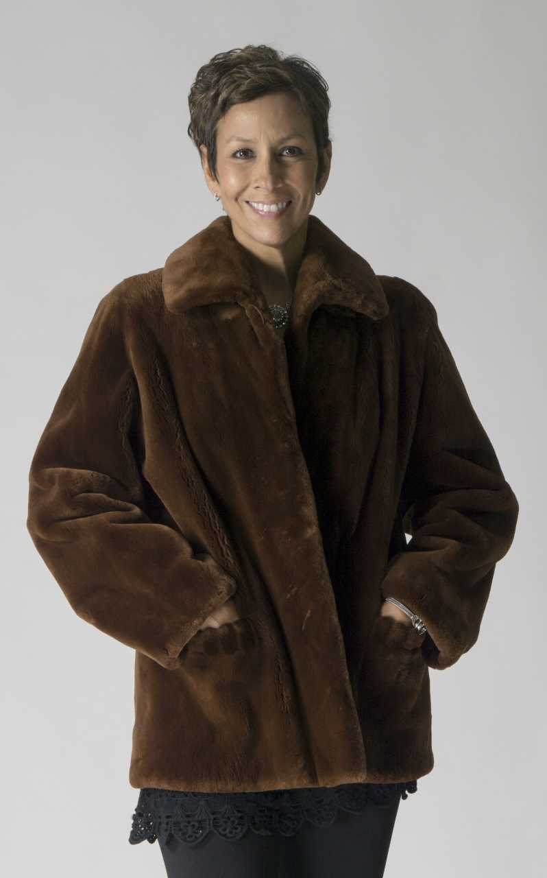"""cfef8c03c Bark dyed Sheared Beaver Letout 28"""" Jacket with Grooving Detail on Pockets  – size 10"""