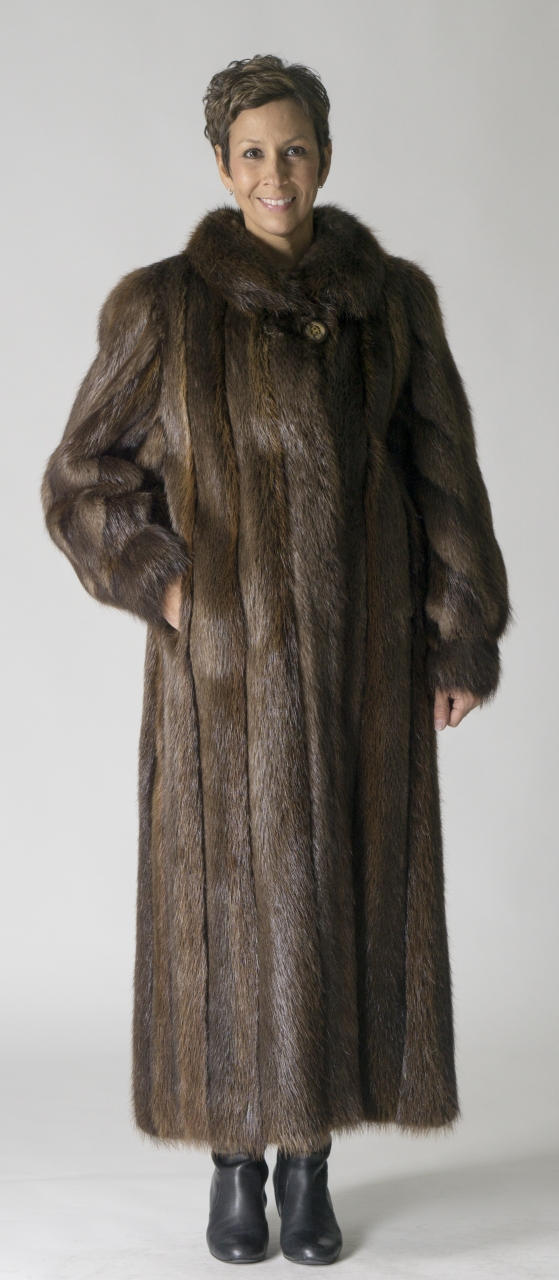 "1fc0803283e Natural Rust Rosewood Letout Long Hair 52"" Beaver Coat with Wing Collar"