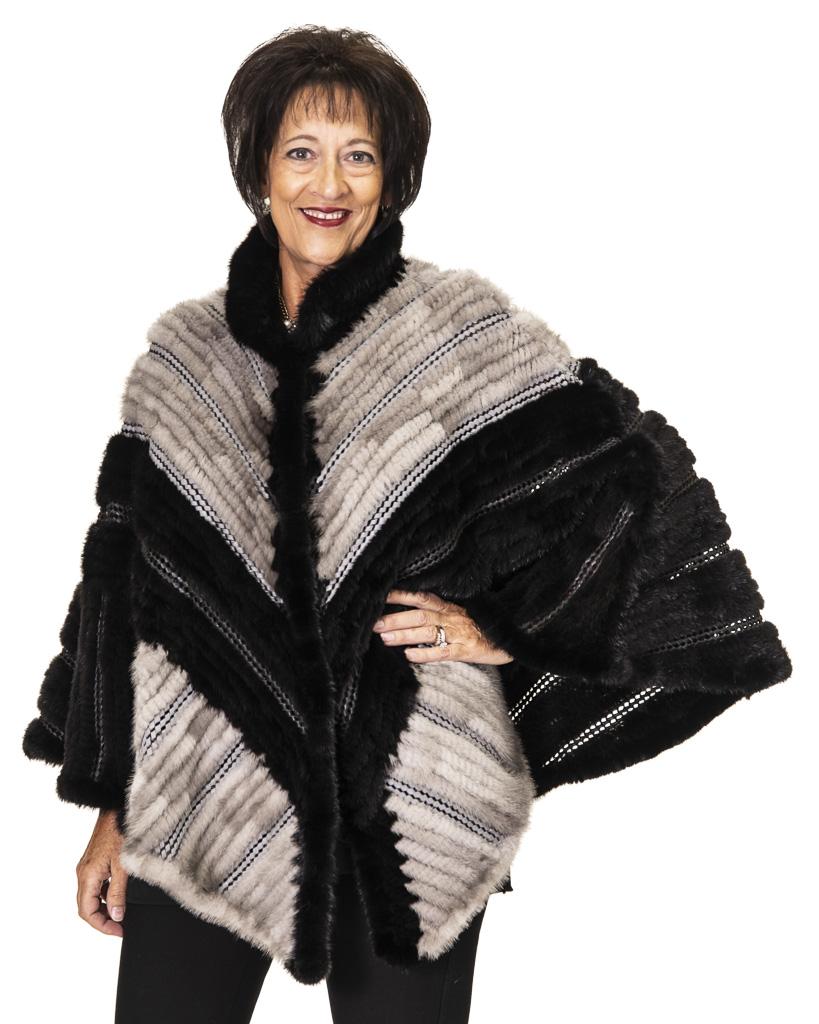 "32febddb5 Black & Grey Knitted Mink Chevron Design 27"" Cape with Basket Weave Leather  Trim"