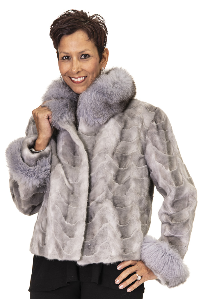 """9b70a7669c9d3 Natural Sapphire Mink Sections 22"""" Jacket with Fox Collar and Cuffs – Size  10"""