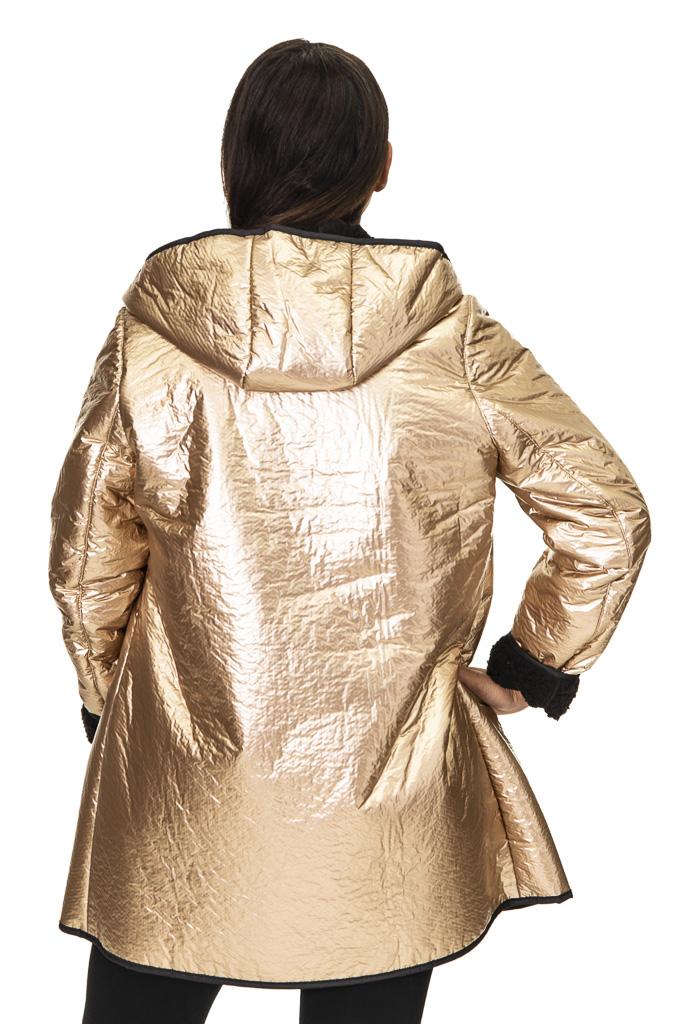 "c7151731415 Nikki Jones Gold Iridescent 32"" Zip Hooded Raincoat   A.J. Ugent Furs"