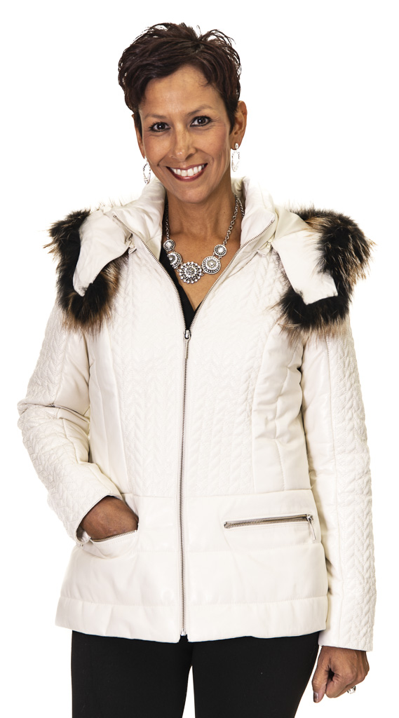 "2048bae0fd2 Vericci Ice Cabretta Lamb 27"" Hooded Zip Jacket with Fox Trim– size ..."