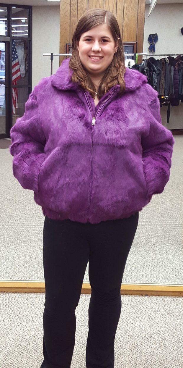 fc72a9d2d3e71 Purple Full Skin Rabbit Fur Zip Jacket with Detachable Hood